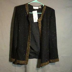 LAURENCE KAZAR 100% silk evening jacket sz L   NWT